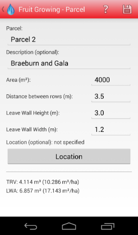 Android Spraycalculator Fruit Growing record parcel