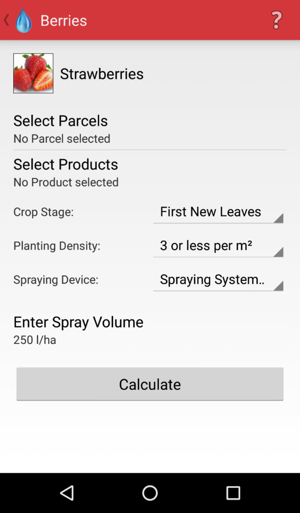 Android Spraycalculator Berries Calculation