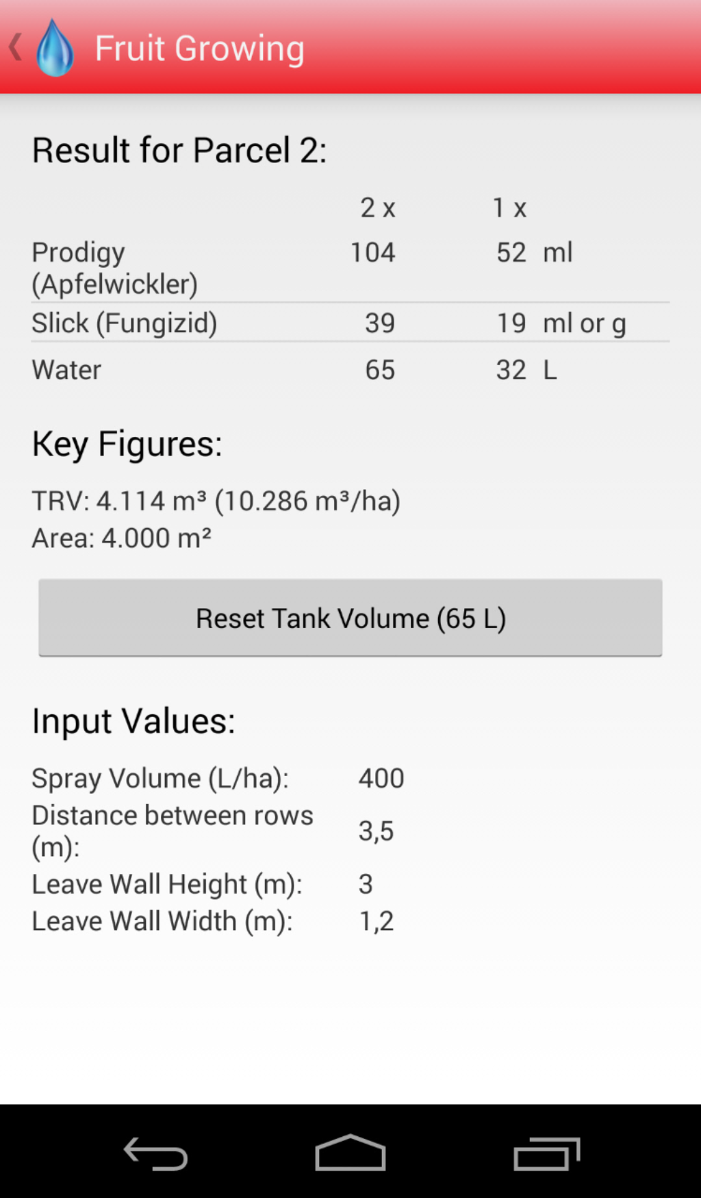 Android Spraycalculator Fruit Growing Result